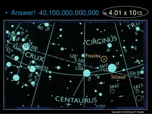 • Answer! 40,100,000,000,000 = 4.01 x 1013 Copyright © 2010 Ryan P. Murphy
