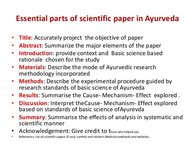 Parts of a scientific paper