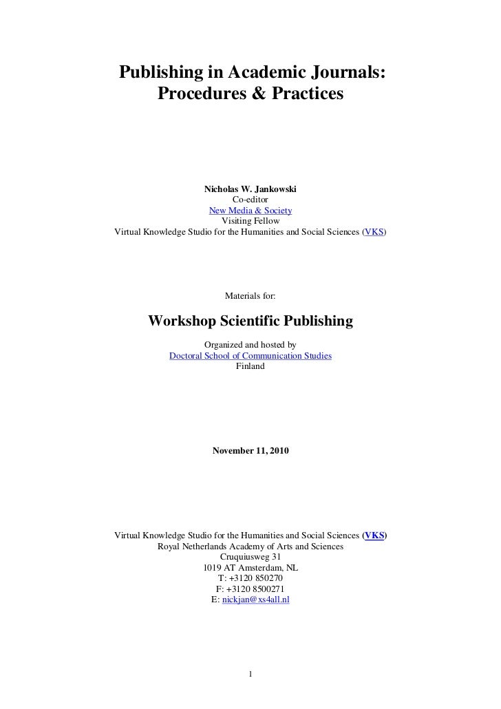 Scientific publishing workshop,  background materials, finland,  jankowski, 8 sept2010