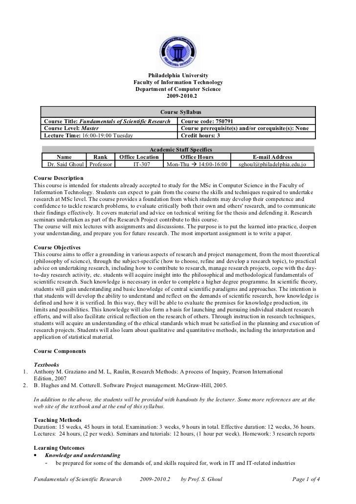 Scientific research syllabus--2009-2010 2