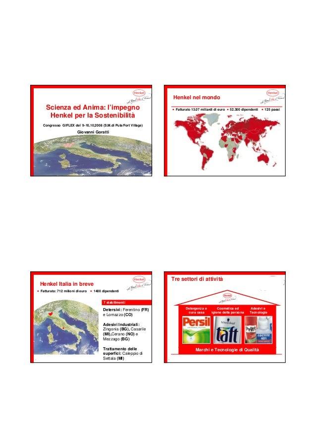 1 Scienza ed Anima: l'impegno Henkel per la Sostenibilità Congresso GIFLEX del 9-10,10,2008 (S.M.di Pula/Fort Village) Gio...