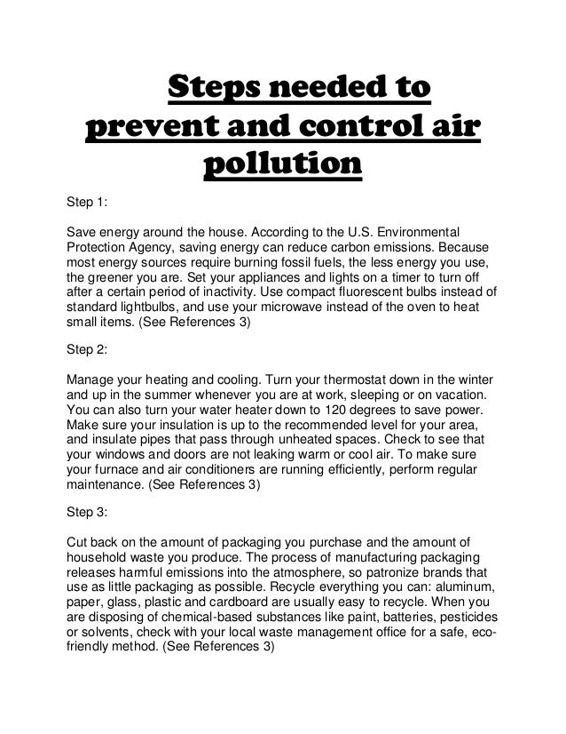 Write an essay about how to prevent Air pollution in