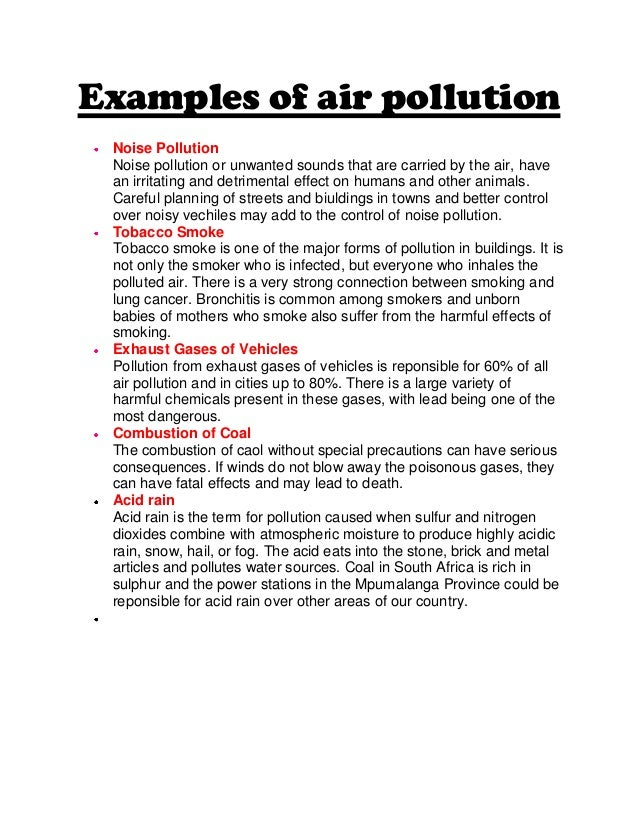 air pollution example essay definition