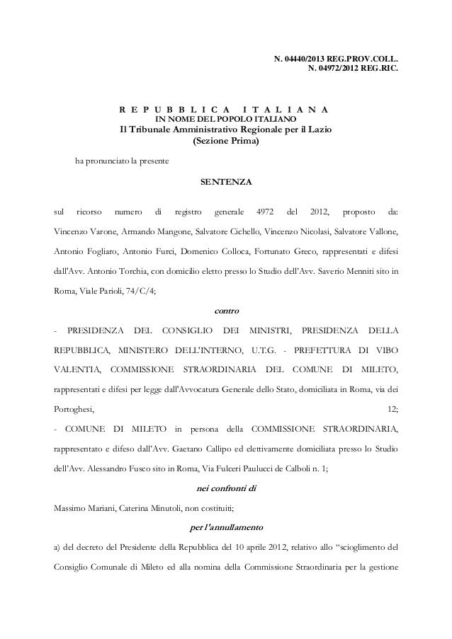 Scioglimento c.c. mileto ricorso tar roma 4972 2012 tesi difensiva