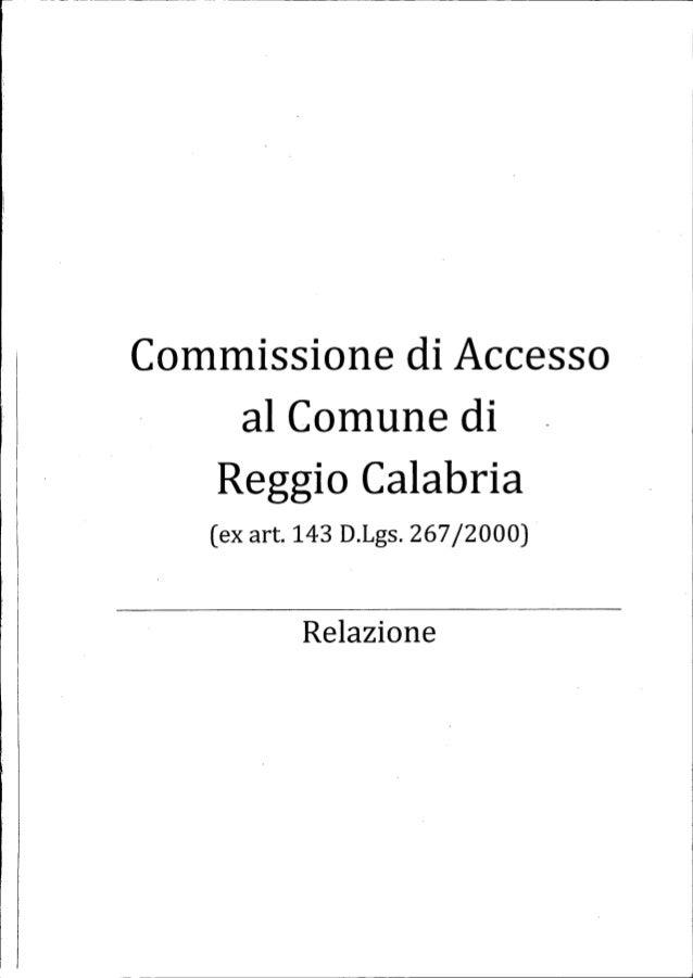 """Commissione di Aeee""""sso al Comune di  Reggio Calabria (ex art. 143 D.Lgs. 267 /2000)  Relazione"""