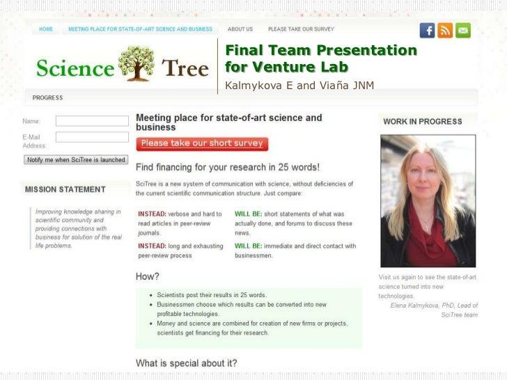 Final Team Presentationfor Venture LabKalmykova E and Viaña JNM