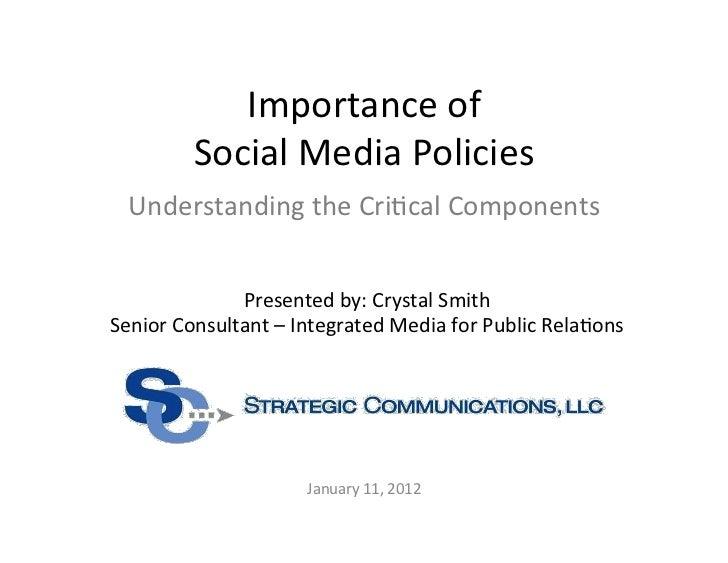 Importance of Social Media Policies - Critical Components
