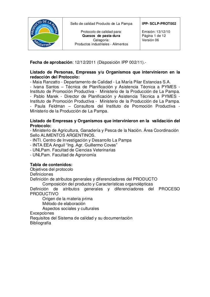 Sello de calidad Producto de La Pampa   IPP- SCLP-PROT002                          Protocolo de calidad para:        Emisi...