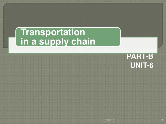 Transportationin a supply chain                               PART-B                                UNIT-6                ...