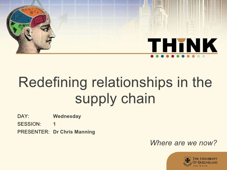 Redefining relationships in the supply chain Wednesday 1 Dr Chris Manning Where are we now?
