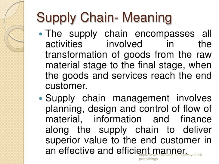 Feb 18, · (Under that description, supply chain management includes nearly everything in business—hardly a meaningful definition.) Another definition was that of Mattsson, 8 who said the supply chain consisted of a line of actors who are in a dependent relationship with one other, and through which material, payment, and information flow.