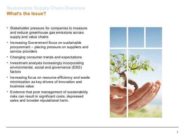 1 Sustainable Supply Chain Overview What's the Issue? • Stakeholder pressure for companies to measure and reduce greenhous...