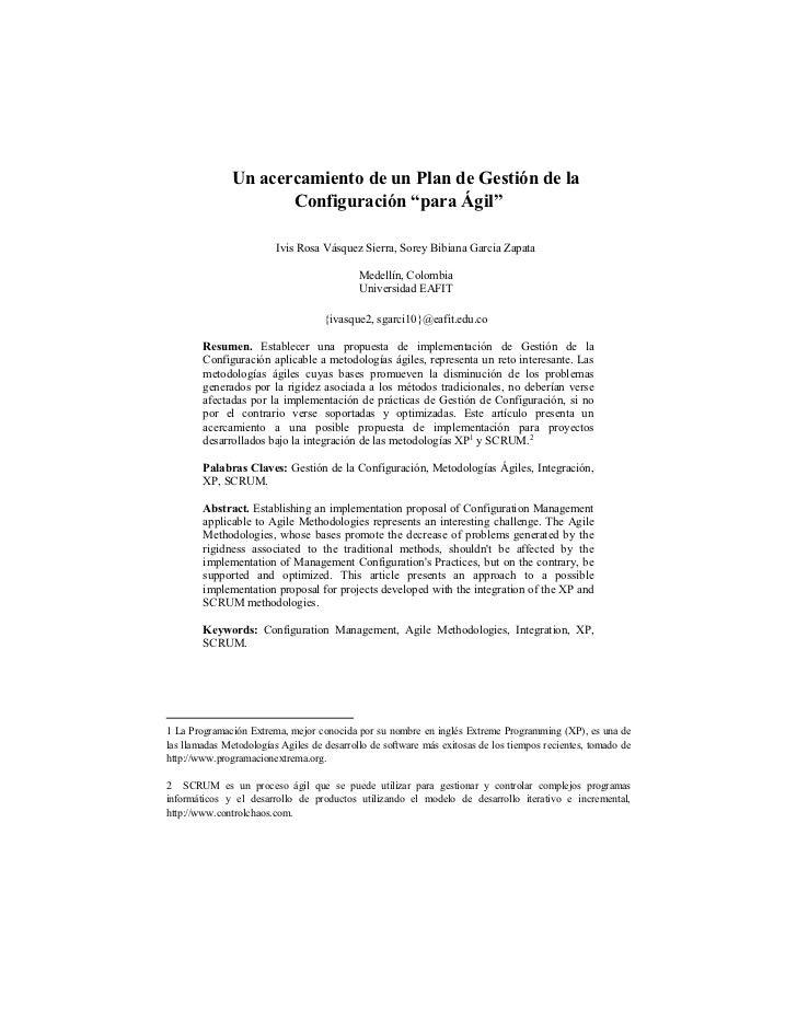 """Un acercamiento de un Plan de Gestión de la                      Configuración """"para Ágil""""                         Ivis Ro..."""