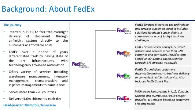 management analysis of fedex 2015-1-28  this case fedex, the cutting edge focus on fedex (federal express) , globally the second largest express delivery company was one of the most admired company in the us.