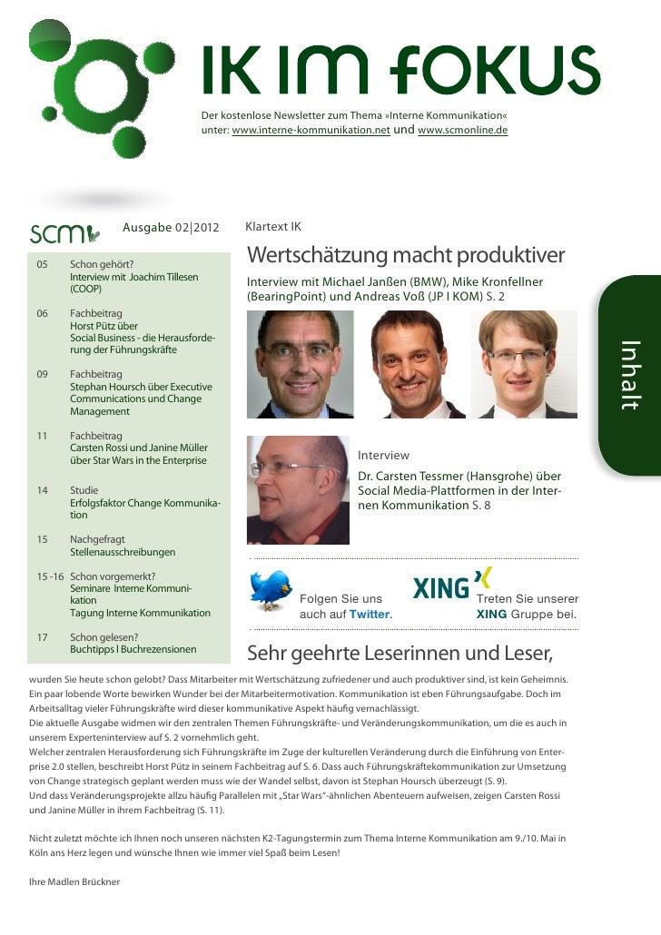 Der kostenlose Newsletter zum Thema »Interne Kommunikation«                                         unter: www.interne-k...