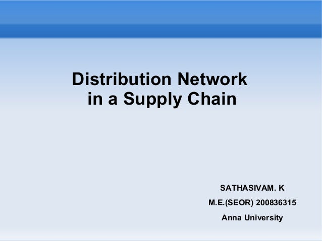 Distribution Network in a Supply Chain SATHASIVAM. K M.E.(SEOR) 200836315 Anna University