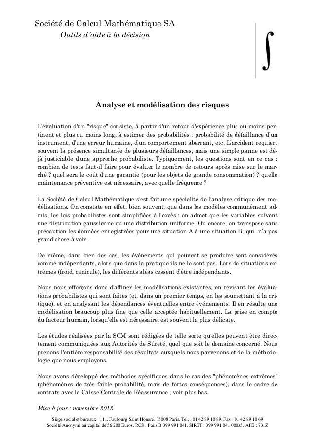 Société de Calcul Mathématique SA         Outils daide à la décision                           Analyse et modélisation des...