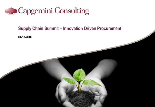 Supply Chain Summit – Innovation Driven Procurement 04-10-2010