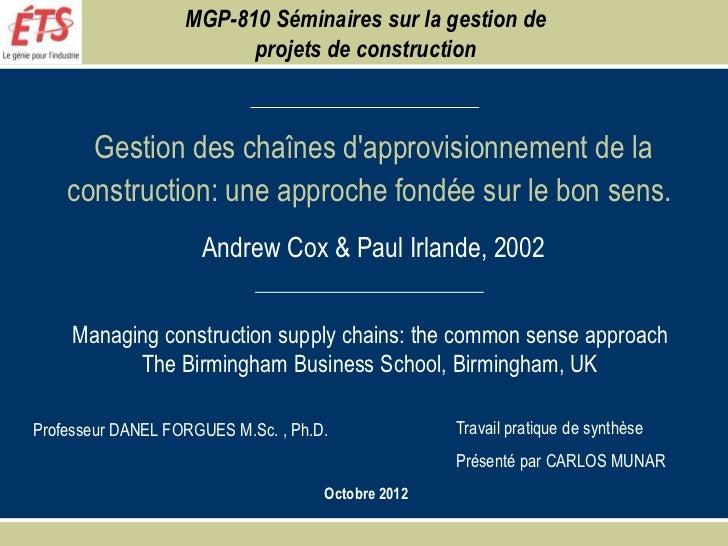 MGP-810 Séminaires sur la gestion de                         projets de construction      Gestion des chaînes dapprovision...