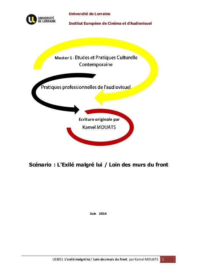Université de Lorraine Institut Européen de Cinéma et d'Audiovisuel UE805| L'exilé malgré lui / Loin desmurs du front par ...