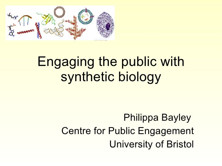 Engaging the public with synthetic biology Philippa Bayley  Centre for Public Engagement University of Bristol