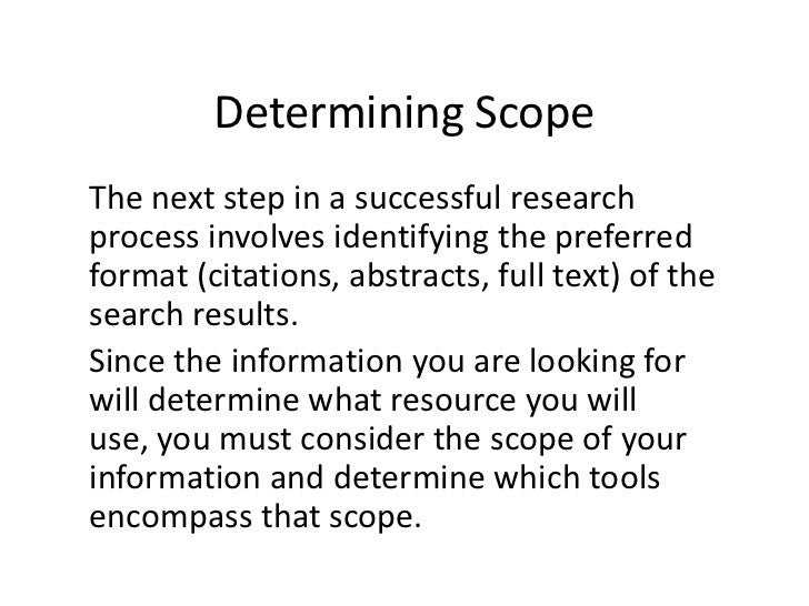 E-LEARN: Determining Scope