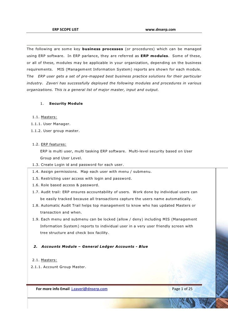ERP Modules Scope Generic 29 Modules major master, input and output