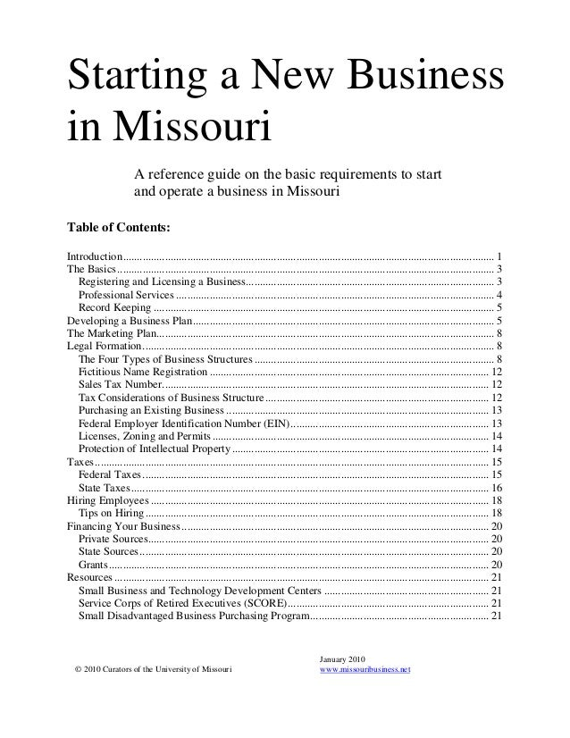 how to start a business in missouri