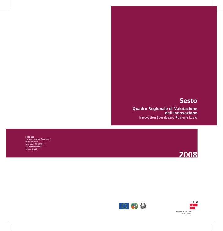 Sesto Quadro Regionale di Valutazione                dell'Innovazione    Innovation Scoreboard Regione Lazio              ...