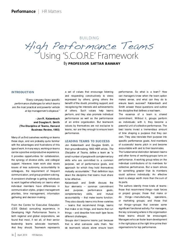 Building Effective Teams using SCORE Framework in HR Matters Issue 26 April 2014