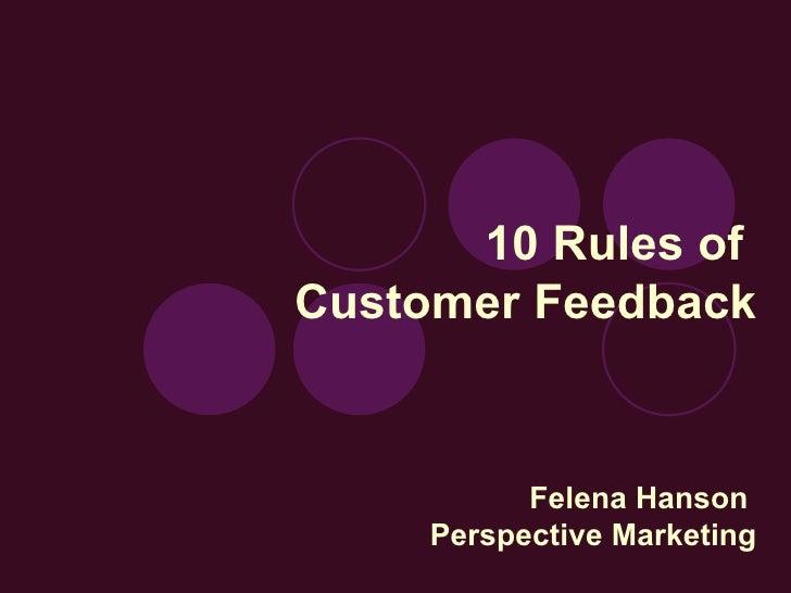 10 Rules Of Customer Feedback