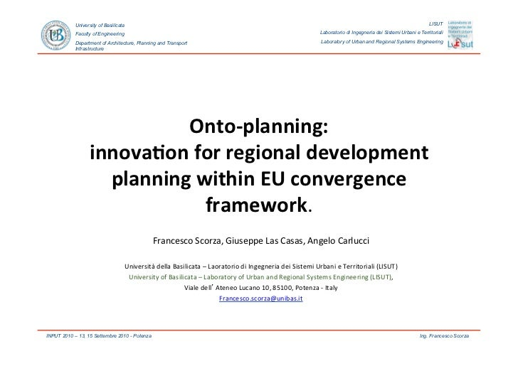 Onto-planning: innovation for regional development planning within EU convergence framework