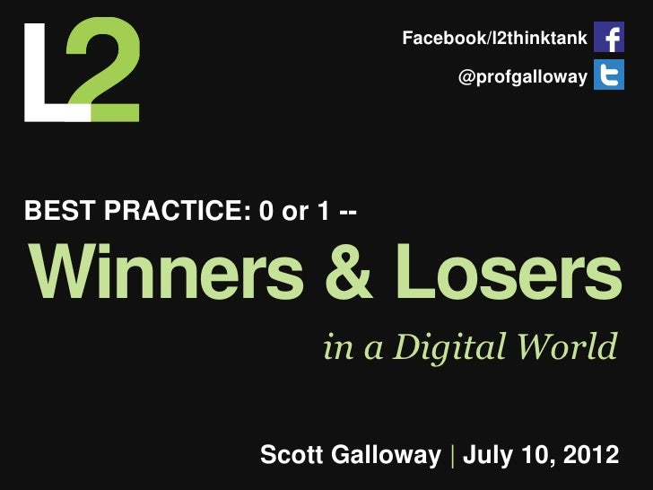 Facebook/l2thinktank                                  @profgallowayBEST PRACTICE: 0 or 1 --Winners & Losers               ...