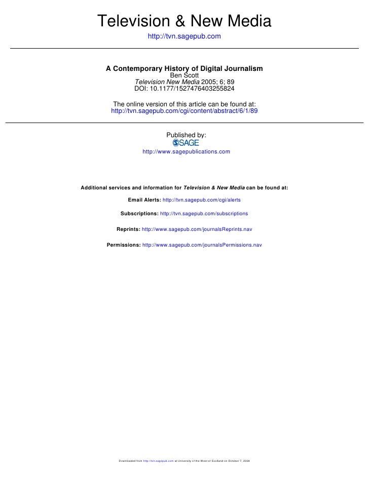 Scott 2005 A Contemporary History Of Digital Journalism