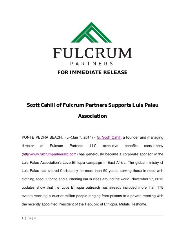 Scott Cahill of Fulcrum Partners Supports Luis Palau Association