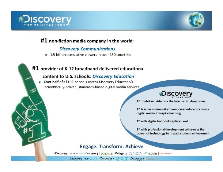 #1 non-‐fic)on media company in the world:                         Discovery Communica0ons            ...