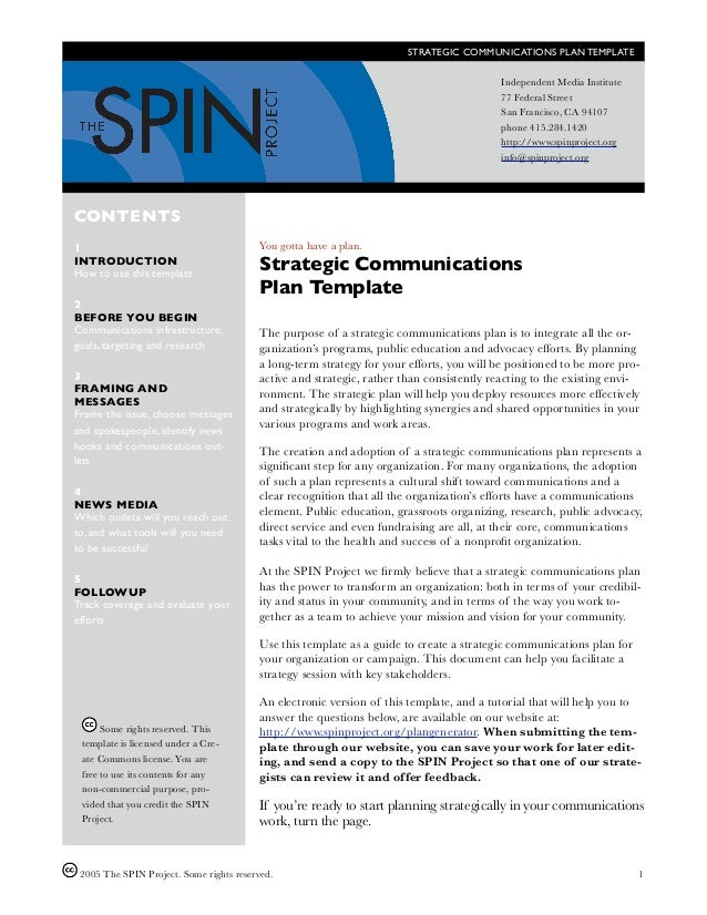 STRATEGIC COMMUNICATIONS PLAN TEMPLATE                                                                                    ...