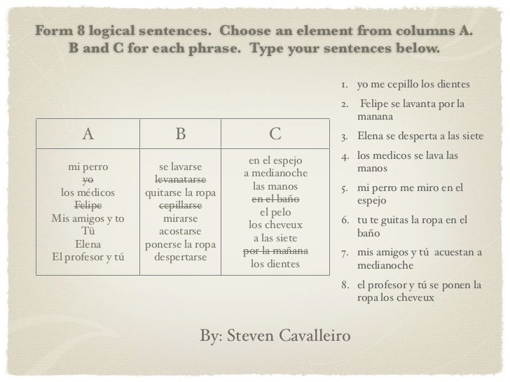Form 8 logical sentences. Choose an element from columns A.    B and C for each phrase. Type your sentences below.        ...