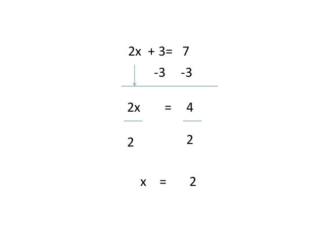 2x + 3= 7-3 -32x = 42 2x = 2