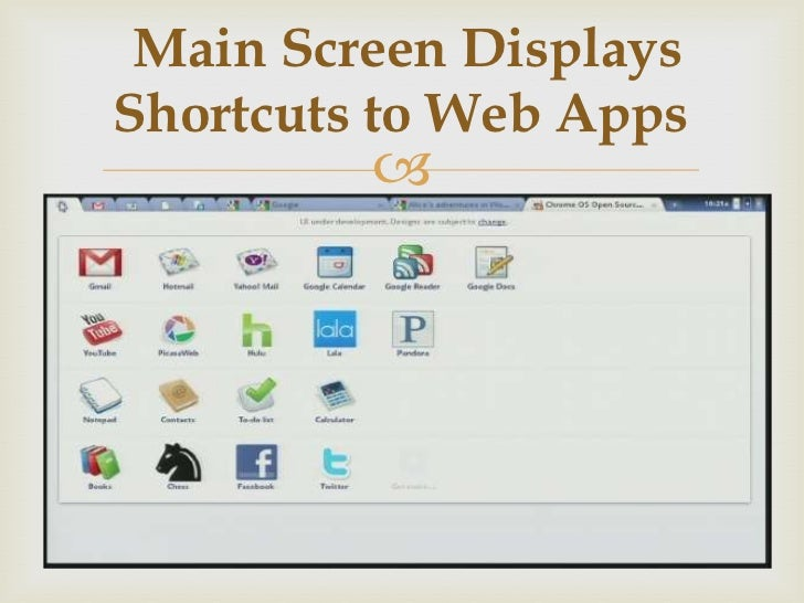 Main Screen DisplaysShortcuts to Web Apps         