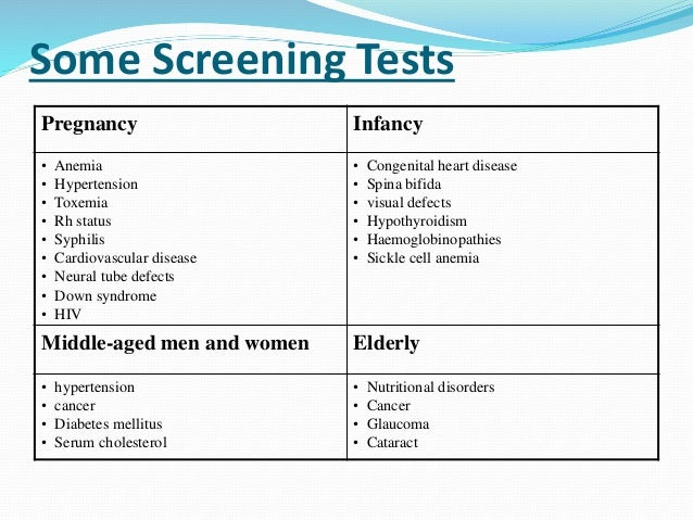 Concepts of Screening for disease