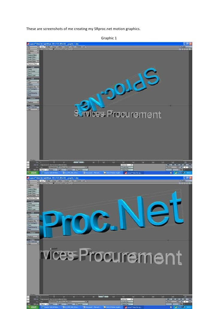 These are screenshots of me creating my SRproc.net motion graphics.                                           Graphic 1