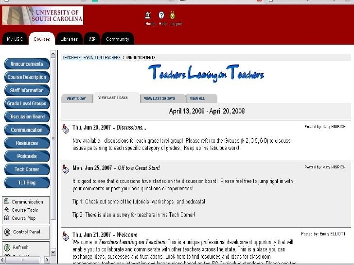Teachers leaning on Teachers: Screenshots