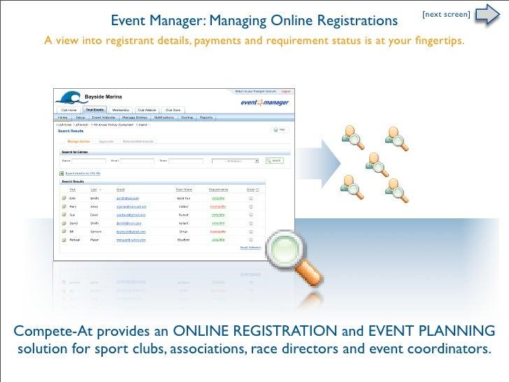 Online Registration - Managing Entries