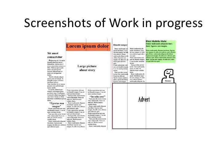 Screenshots of Work in progress