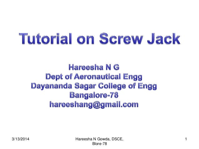 Assembly of screw jack