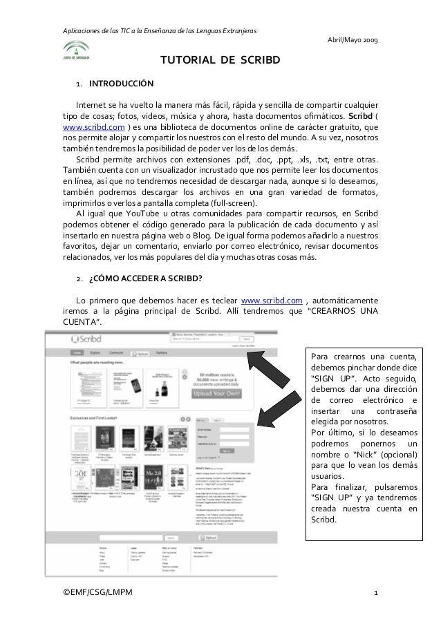 AplicacionesdelasTICalaEnseñanzadelasLenguasExtranjeras Abril/Mayo2009 TUTORIALDESCRIBD  1. INTRODUCCIÓ...