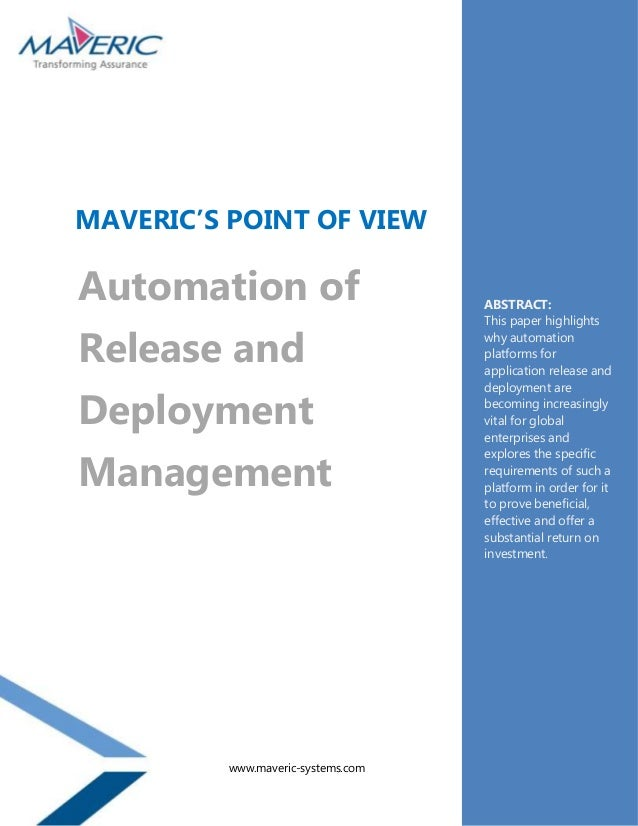 MAVERIC'S POINT OF VIEWAutomation of                       ABSTRACT:                                    This paper highlig...