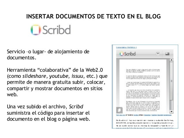 "Servicio –o lugar- de alojamiento de documentos. Herramienta ""colaborativa"" de la Web2.0 (como slideshare, youtube, issuu,..."