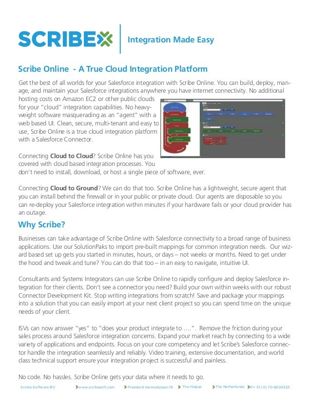 Integration Made Easy Get the best of all worlds for your Salesforce integration with Scribe Online. You can build, deploy...